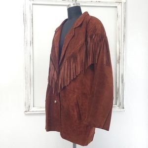 Vintage 70s Fringe Leather Dusty Brown Rodeo Jacket